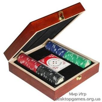 Покерный набор на 100 фишек, кейс дерево