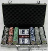 Покерный набор 300 фишек с номинал, кейс