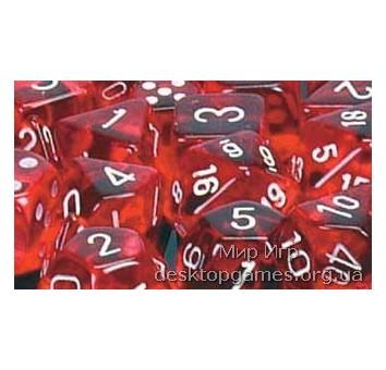 Кубики Chessex: набор из 7 кубиков: Red w/white прозрачные
