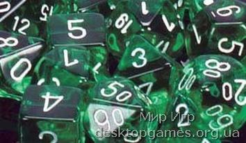 Кубики Chessex: набор из 7 кубиков: Green w/white прозрачные