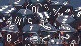 Кубики Chessex: набор из 7 кубиков: Smoke w/white прозрачные