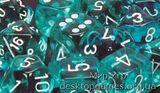 Кубики Chessex: набор из 7 кубиков: Teal w/white прозрачные