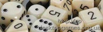 Кубики Chessex: набор из 7 кубиков: Ivory w/black