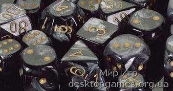 Кубики Chessex: набор из 7 кубиков: Lustrous Black w/gold