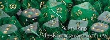 Кубики Chessex: набор из 7 кубиков: Vortex Dice Green w/gold