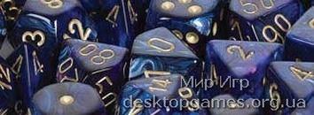 Кубики Chessex: набор из 7 кубиков: Scarab Royal Blue w/gold