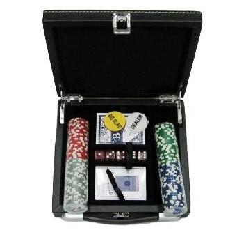 Покерный набор на 100 фишек с номиналом, кожзам