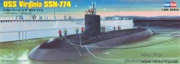 Сборная пластиковая модель подлодки Вирджиния ССН-774