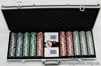 Покерный набор на 500 фишек с номиналом, кейс