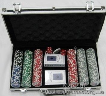 Покерный набор на 300 фишек с номиналом, кейс