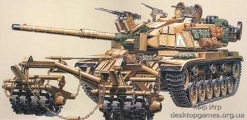 Израильский танк M60A1 с минным тралом