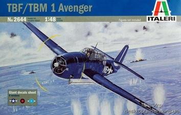 Пластиковая масштабная модель самолета Эвенджер TBF/TBM 1 (Avenger)