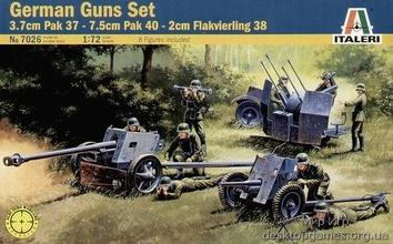 Немецкие пушки: 3.7см ПАК-37, 7.5см ПАК-40, 2см Flakvierling 38