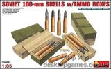 Soviet 100-mm shells with ammo boxes