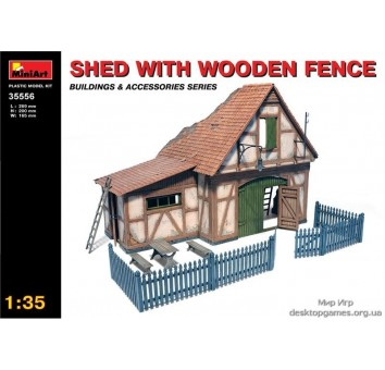 Миниатюра: хижина с деревянным забором