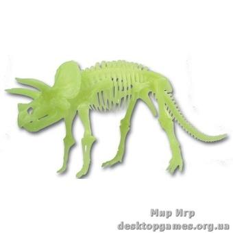 Светящийся скелет динозавра Трицератопс