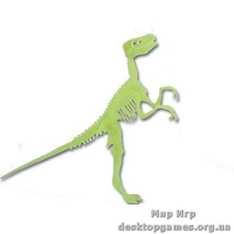Светящийся скелет динозавра Велоцираптор