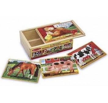 Животные на ферме - набор из 4 пазлов