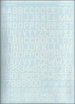 PRS32-001 USAF modern stencil letters & numbers, white color