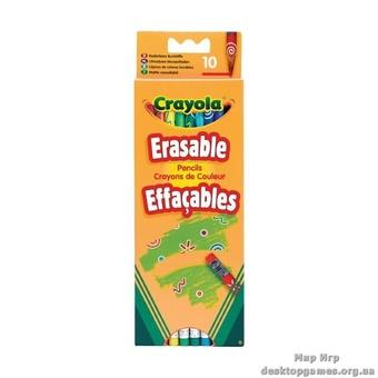 10 цветных карандашей с ластиками