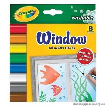 8 фломастеров для рисования на стекле