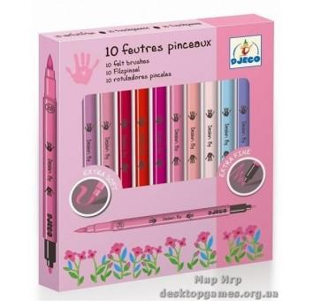 Набор фломастеры-кисти двухсторонние 'Для девочек' 10 штук