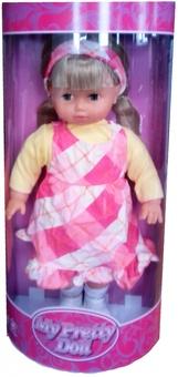 Кукла мягкая 40 см, в клетчатом сарафане