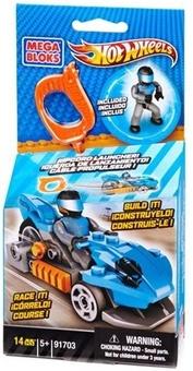 """Mega Bloks. Конструктор с мех.ускорителем """"Синий гоночный автомобиль"""" 91703"""