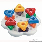 Мозаика серии Геометрия (6 цветов, большие треугольные фишки (12 шт.) + доска)