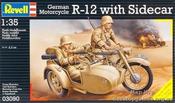 Немецкий мотоцикл R-12 с коляской и экипажем