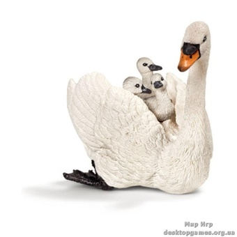 """Игрушка-фигурка """"Самка лебедя-шипуна с птенцами"""""""