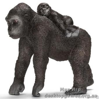 """Игрушка-фигурка """"Самка гориллы с детенышем"""""""