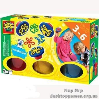 Пальчиковые краски Цветные штампы (3 цвета, штампы)