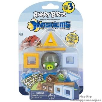 Набор Angry Birds S3 - машемс с блоками (свинка в шлеме, блоки)