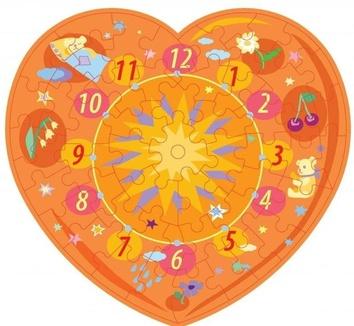 """Пазл – часы """"Оранжевое сердце"""" 61 эл."""