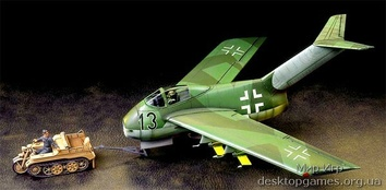 Немецкий Fw Ta183A с тягачем KettenKraftrad