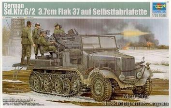 Модель полугусеничного тягача Sd.Kfz.6/2 с зениткой 3.7cm Flak 37