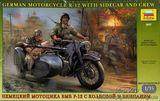 Немецкий мотоцикл БМВ Р-12 с коляской и экипажем