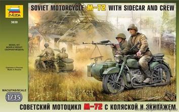 Советский мотоцикл M-72 с коляской и экипажем