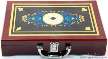 Покерный набор на 200 фишек, кейс дерево