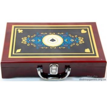 Покерный набор на 300 фишек, кейс дерево с рисунком Пики