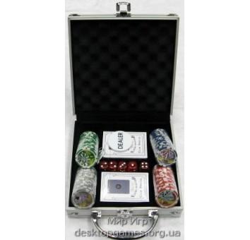 Покерный набор 100 фишек с номинал, кейс