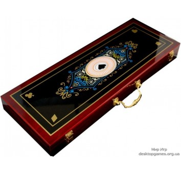 Покерный набор на 500 фишек, кейс дерево