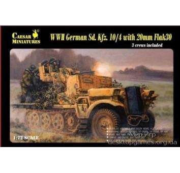 Полугусеничный тягач Sd. Kfz.10/4 с зениткой 20mm Flak 30